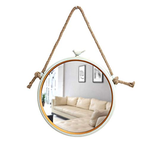 Specchi per il trucco specchio da parete nordico con corda di canapa specchio da parete moderno decorativo specchio da bagno | specchio per trucco e da barba vanity fissato al muro | cornice in met