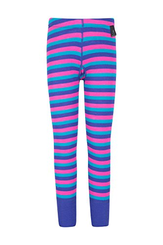 Mountain Warehouse Merino gestreifte Kinderhose Funktionsunterwäsche Thermohose Unterhose Skiunterwäsche Leggings Rosa 104 (3-4 Jahre)