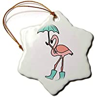 Sandy66Twain Funky Cute Pink Flamingo Holding An Umbrella And Wearing Rain Boots Ceramic Christmas Tree Hanging Ornaments Xmas Gifts For Friends Kids Women