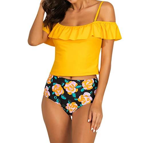 SHOBDW Sexy Frauen Push-Up gepolsterter BH Beach Bikini Set Floral Badeanzug Bademode Tankinis Damen Große Größen Sommer Sexy Lace Up Schulterfrei Rüschen Bikini - Floral Lace Up Bustier
