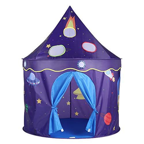 Shinehalo Tente Pliable Robuste avec Sac Enfant Jouet Interieur Extérieur Adorable Château Playhouse,Thème de l'espace Tente Princesse, Plein Air Cadeau Idéal Noël Anniversaire