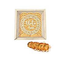 "YaYa Cafeâ""¢ Holi Sweets Gift Pack Kesar Gujiya Gift Hampers Holi Hai Engraved Wooden Gift Box -Kesar Gujiya - 500 gm"