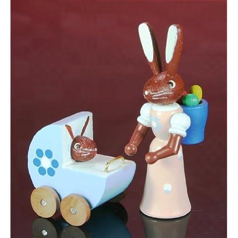 Montañas del mineral de la decoración de Pascua del conejito del cm pascua de la mamá + del cochecito de niño 5 del conejo NUEVAS