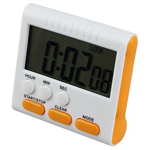 Kueche LCD-Timer - SODIAL(R) Digital Eieruhr / Kuechentimer Timer mit Lauter Alarm, up und down Funktion, Magnet Staender, Gelb-Orange