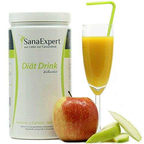 SanaExpert Diät Drink Wellnesskost, Mahlzeitenersatz, Eiweiß, L-Carnitin, Vitamine und Mineralien, Pulver, 500g