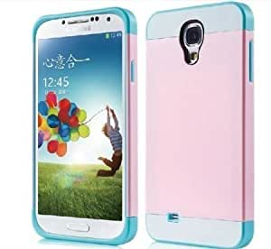 1X Hybrid TPU Silikon Strass Glitzer Hülle Hüllen Schutzhülle Tasche Etui Protection Case Protective Cover für Samsung Galaxy S4 I9500 I9505 - Pink Rosa + Weiß + Hell Blau