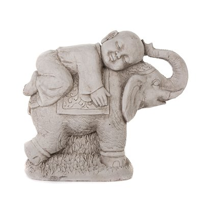 Price comparison product image LARGE MONK ON ELEPHANT HAND CAST STONE GARDEN ORNAMENT / STATUE / SCULPTURE