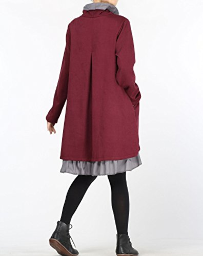 MatchLife Femme Double Couche Manches Longues Robe Tops Rouge
