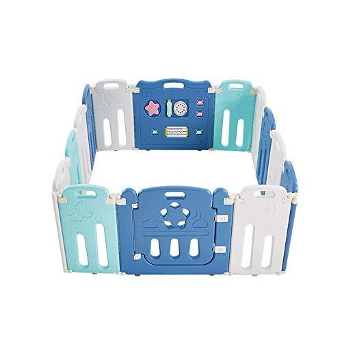 Pia-Baby Laufstall Babyspielzaun Klappbarer Kinderspielzaun Kinderaktivitätscenter Sicherheitsspielplatz Home Indoor Outdoor (Sternenblau 12 Kleine Tafel +1 Spielleiste +1 Tor) -