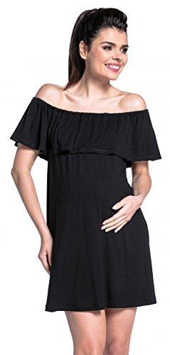 Zeta Ville -Vestido de lactancia doble capa cuello bardot premamá - mujer - 624c (Negro, EU 40/42, L)