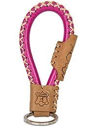 Tumatsch-Leder© Fair-Trade Schlüsselanhänger aus Echt-Leder in Handarbeit hergestellt. Schlüsselband Bangkok in Pink & Braun