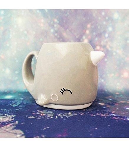 Grey Narwhal Ceramic 3d Coffee Mug Unicorn of the Sea by Smoko