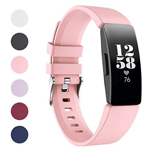 VANCHAN Kompatible mit Fitbit Inspire/Fitbit Inspire HR Armband, Silikon Ersatzband Zubehör für Fitbit Inspire/Inspire HR Fitness Tracker(Rosa)