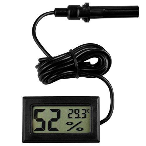 Pecute 2-in-1 LCD Digital Thermometer Hygrometer mit Sonde für Inkubator Aquarium Geflügel Reptil Gewächshaus (Schwarz)
