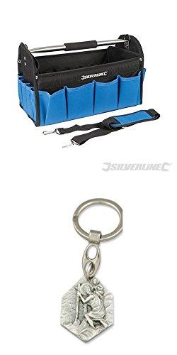 Strapazierfähige Werkzeugtasche mit verstärktem Boden, 400x200x255 mm, Bag, Werkzeugkoffer, Werkzeugkiste mit Anhänger Heiliger Christophorus