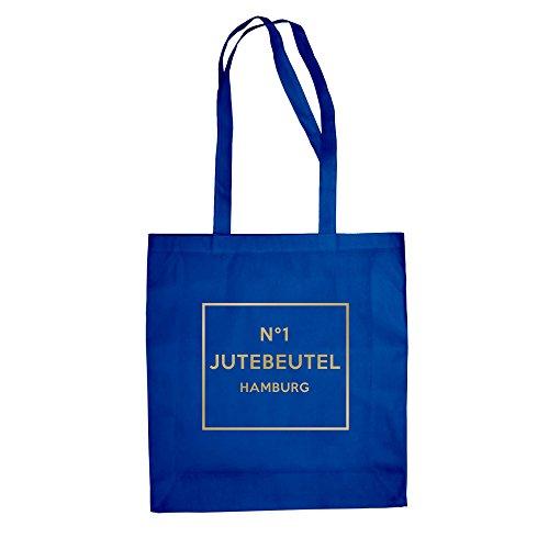 No1 - Jutebeutel - Hamburg - von SHIRT DEPARTMENT royalblau-gold