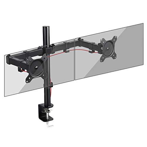 SIMBR Monitor Halterung 2 monitore, Monitorhalterung, Monitor Tischhalterung, Bildschirmhalterung für Zwei Bildschirme, drehbar, neigbar, schwenkbar, VESA 75x75/100x100 mm,Tragfähigkeit 8kg