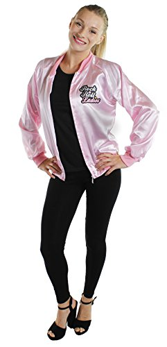 "LADIES PINK JACKET WITH ""ROCK N ROLLS LADIES"" PRINT 1950'S FANCY DRESS COSTUME ACCESSORY PINK BOMBER STYLE JACKET LARGE UK 12-14"