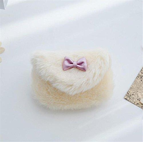 Sacchetto del vestito da Bowknot della borsa del partito della ragazza della pelliccia del Faux della spalla del messaggero dei bambini (beige) Beige