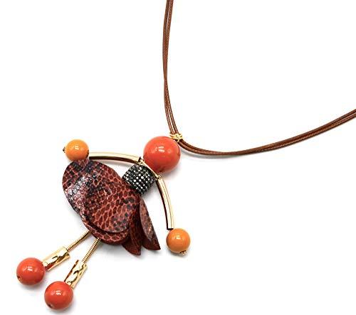 Oh My Shop CL2359F Halskette mit Anhänger Puppe Kleid Strass und Stoff Python Orange - Python-stoff