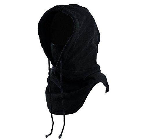Mangotree 6 in 1 Winddichte Vollgesichtsmaske Unisex Tactical Heavyweight Sturmhaube Gesichtsmaske / Skimaske / Hooded Kopfhaube für Sport und Outdoor (A# Schwarz) (Schwarz Hals-abdeckung)