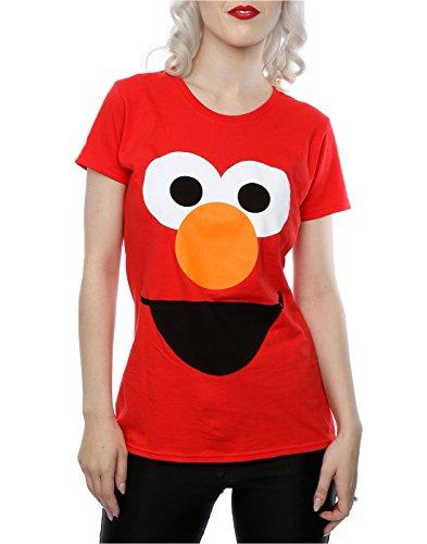 Sesame Street Femme Elmo Face T-Shirt Rouge