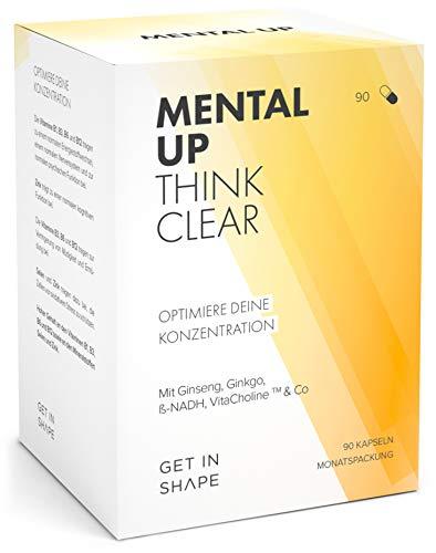 MENTAL UP - Optimiere deine Konzentration und geistige Leistungsfähigkeit. Ginkgo, Ginseng, ß-NADH, B-Vitaminen, Zink, Selen in 90 Kapseln von GET IN SHAPE