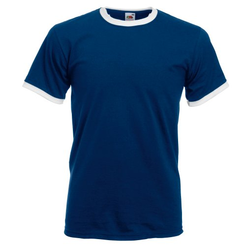 Fruit Of The Loom Herren Ringer T-Shirt Royal/White