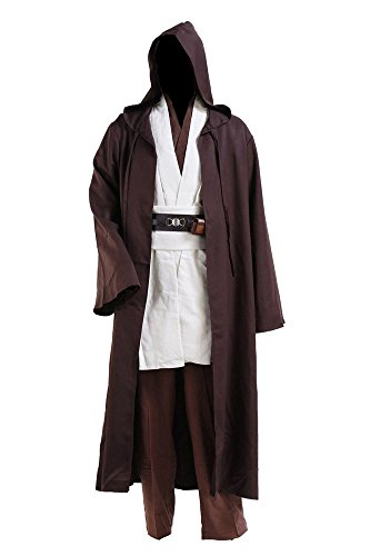 Star Wars Yoda Jedi Obi Wan Kenobi Cospaly Kostüm Tunika Herren Mantel Weiß (Kostüm Jedi Star Wars)