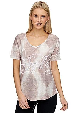 Damen Feinstrick Shirt mit Druck und Strass - MD1020 - Beige (M)