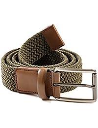 Perry Ellis Elastic Leather Trim Belt