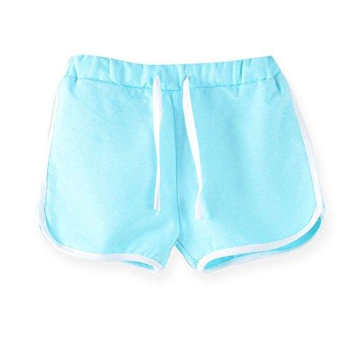 LaoZanA Kinder Jungen Mädchen Kordelzug Sommer Shorts Kurze Hose Hotpants Hellblau 140