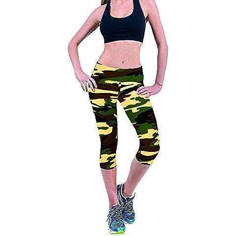 Ularma 2016 Fitness mallas de la mujer flexión Yoga Sport pantalones impresos tramo recortada Leggings (verde, S)