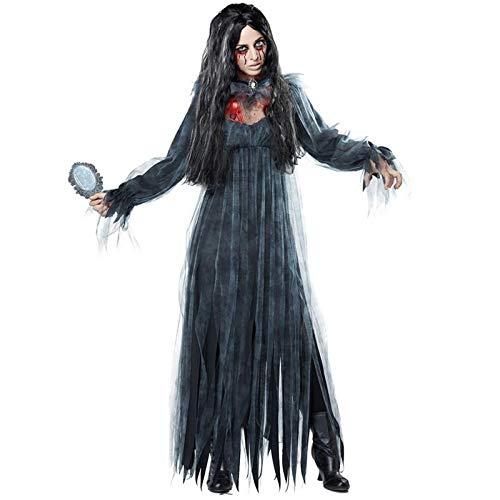 Shi18sport Frauen Scary Zombie Cosplay Kleidung Schwarz Unregelmäßige Langarm Lange Halloween Damen Cosplay Kleid, ()