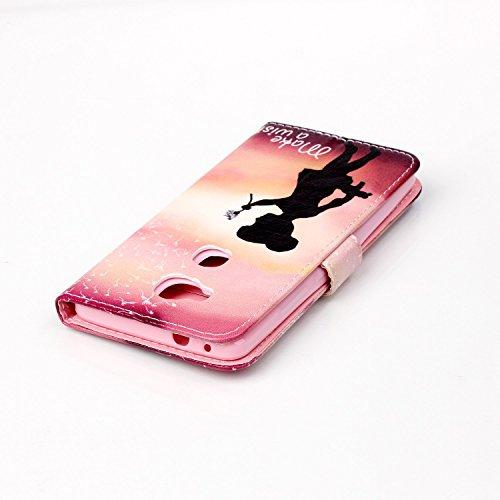 Coque pour Apple iPhone SE/5/5S,Housse en cuir pour Apple iPhone SE/5/5S,Ecoway Colorful imprimé étui en cuir PU Cuir Flip Magnétique Portefeuille Etui Housse de Protection Coque Étui Case Cover avec  Filles de pissenlit
