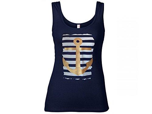 Damen Tanktop maritim mit Druck Anker (M, Navy) - Damen Nautische Streifen-shirt