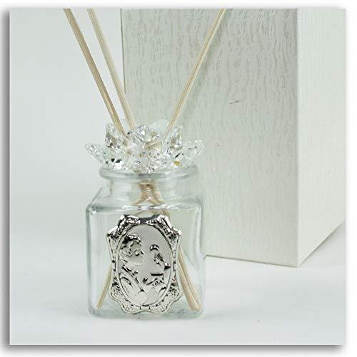 Dlm27549 diffusore barattolo fiore in cristallo bimbo prima comunione profumatore bottiglia bomboniera