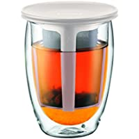 Bodum - K11153-913 - Tea For One - Set Infuseur Individuel - Verre Double Paroi - 35 cl - Blanc