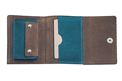 Portafoglio in pelle per uomini donne. Portafoglio minimalista, clip di denaro. Borsa (grey) green