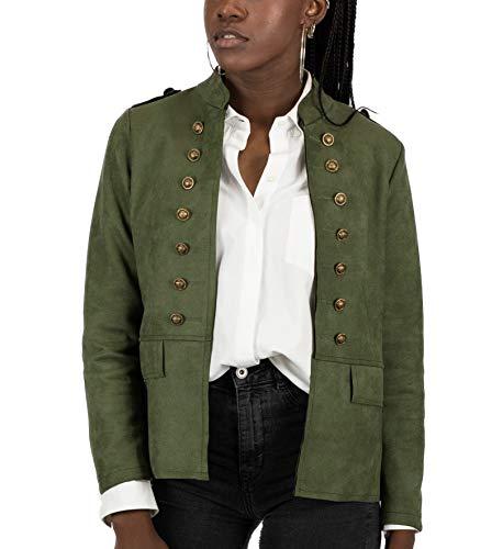 0005f3dbc3f Mer s Style - Chaqueta Cazadora Militar Efecto Ante para Mujer
