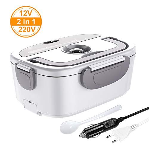ERAY Boîte Chauffante Repas, 2 en 1 Lunch Box Chauffante Electrique 220V 12V 1.5L en Acier...