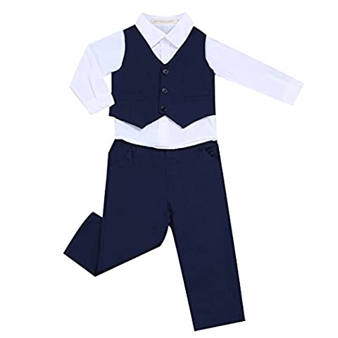 IINIIM Gentil Costumes de Baptême Mariage Coton Bébé Garçon Gentleman Chemise et Pantalon avec Veste Tenues Ensemble Habillement 6 Mois-4 Ans Bleu marine& Blanc 12-18 Mois