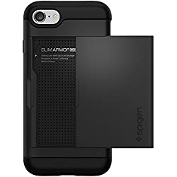 Spigen Coque iPhone 7, [Slim Armor CS] Slim Fit Double Couche de Protection [Noir] avec Fente pour Carte Porte-Monnaie (iPhone7) - 042CS20455