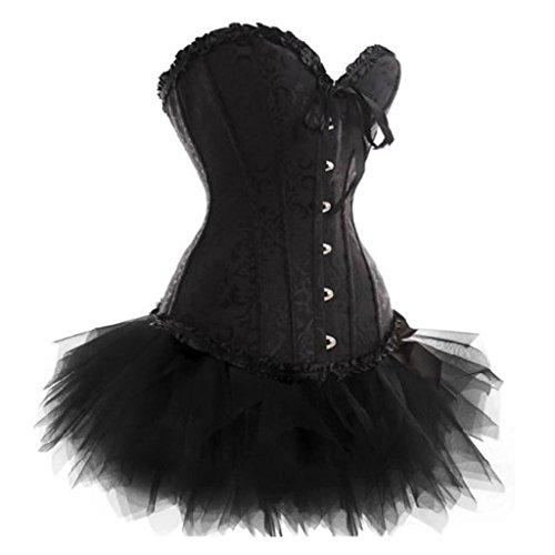 Übergrößen Corsage Kleid Mini Rock Korsett Tutu schwarz Gothic EUR(36-38) (Tutu Plus Schwarz Size)