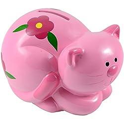 Hucha infantil de cerámica gato rosa