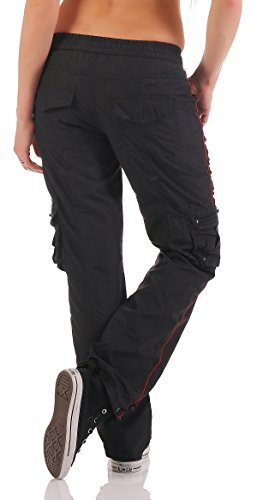 SUCCESS Damen Cargo Hose Casual Wear Chino Stoff Hose 5 Pocket Regular Fit Freizeithose 3301-3302 01-Schwarz