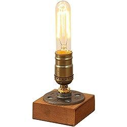 INJUICY Vendimia E27 Edison Madera Lámpara de Escritorio Antiguo Metal Lámpara de Mesa de Luz del Escritorio para Dormitorio Cafe Bar Estudio de Luz Nocturna de la Cabecera con Interruptor Decoración