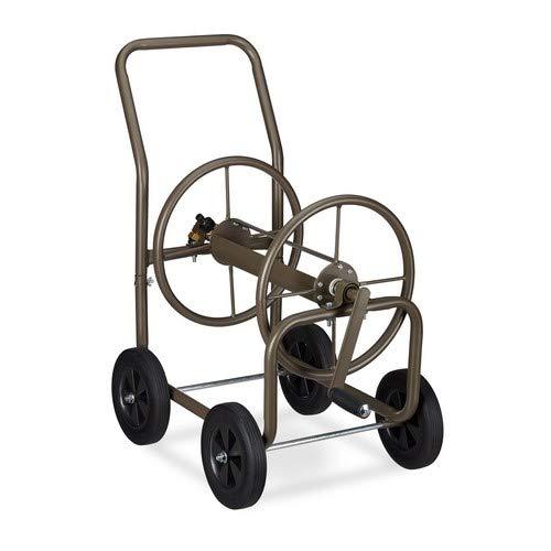 """Relaxdays Schlauchwagen XL, fahrbare Schlauchtrommel Metall, 2x 3/4"""" Anschlüsse, für 60m Schlauch, 90° Abrollen, braun"""