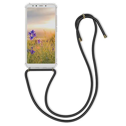 kwmobile Funda con Cuerda para Xiaomi Mi 6X / Mi A2 - Carcasa Transparente de TPU con Colgante en Negro/Transparente