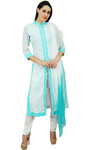 Atasi Frauen Baumwollgerade Kurta mit Dupatta gedrucktes Sommer Salwaar Kameez indischen ethnischen Anzug Kleid (Kameez Salwar Dupatta)